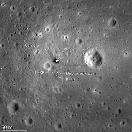 This is a hi-resolution image from the new LRO (Lunar Reconnaissance Orbiter) of the 1969 landing site of Apollo 11, the first men on the moon and you can even see the footprint tracks