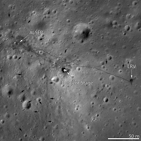 This is another hi-resolution image from the new LRO (Lunar Reconnaissance Orbiter) of the 1971 landing site of Apollo 15. Notice the LVR (Lunar Vehicle Rover) on the right side of the image.