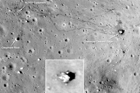 This is a hi-resolution image from the new LRO (Lunar Reconnaissance Orbiter) of the 1972 landing site of Apollo 17, where the last men on the moon walked. The inset is of the descent stage of the landing module left there when they launched back to Earth.